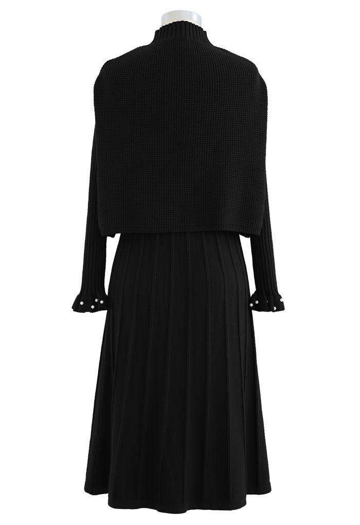 Pearl Trim Pleated Knit Twinset Dress in Black