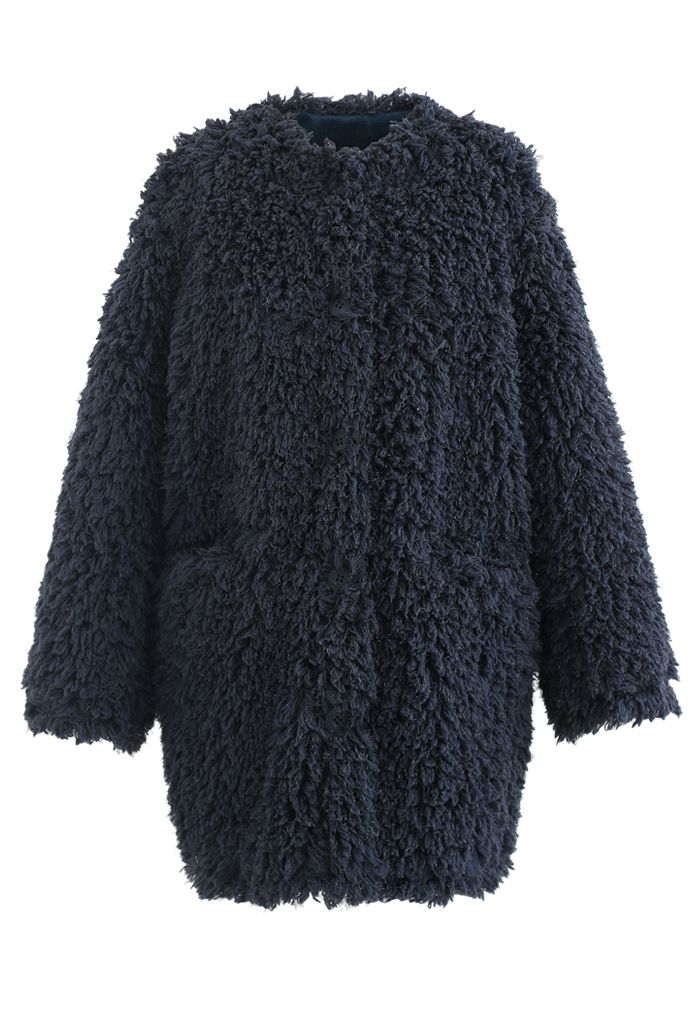 Collarless Shaggy Faux Fur Suede Coat in Smoky Blue