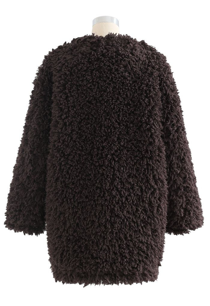 Collarless Shaggy Faux Fur Suede Coat in Brown