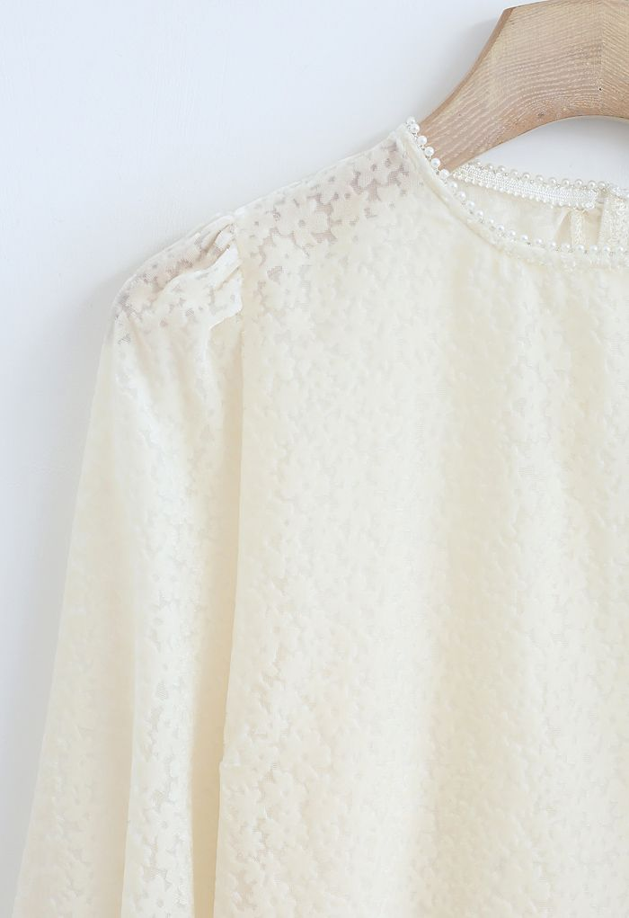 Floret Velvet Pearl Neck Smock Top in Cream