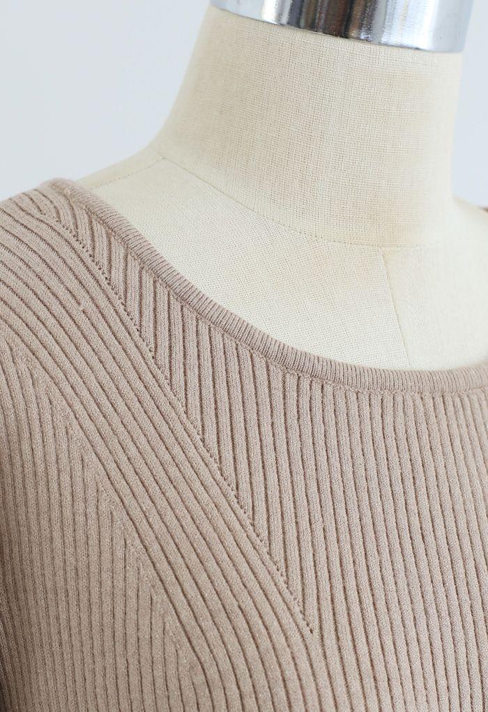 Pleated Hem Belted Knit Dress in Light Tan