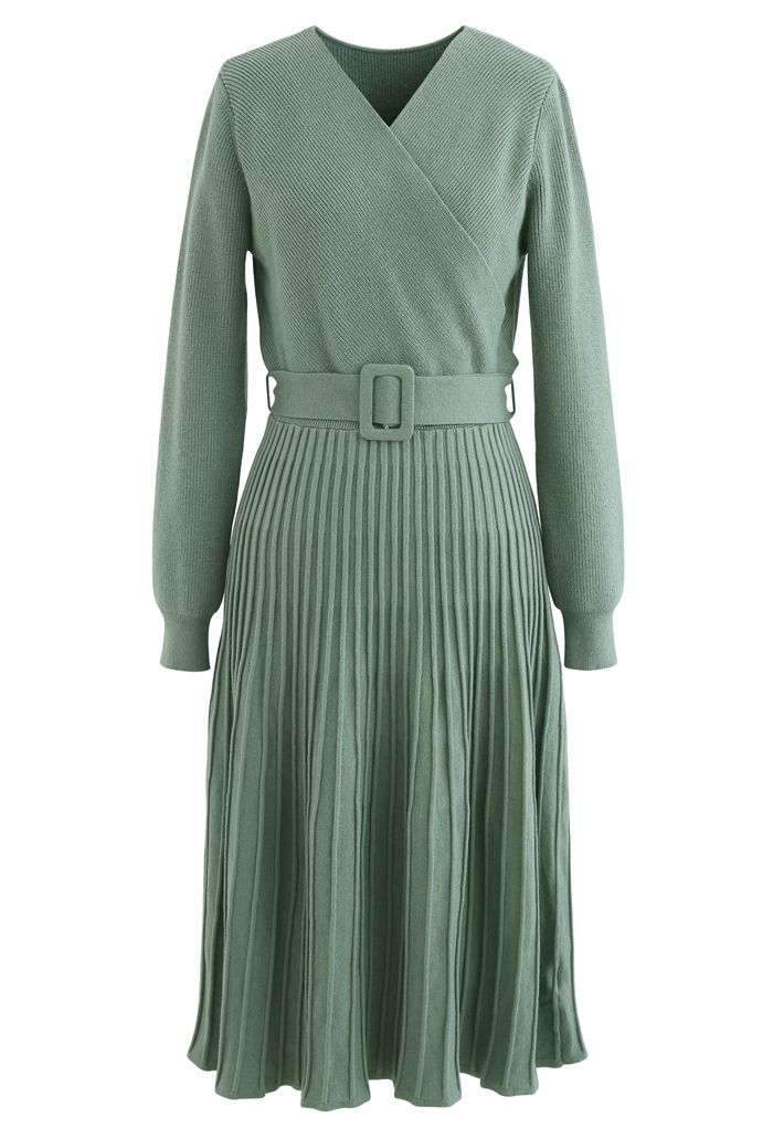 Belted Wrap Rib Knit Midi Dress in Green
