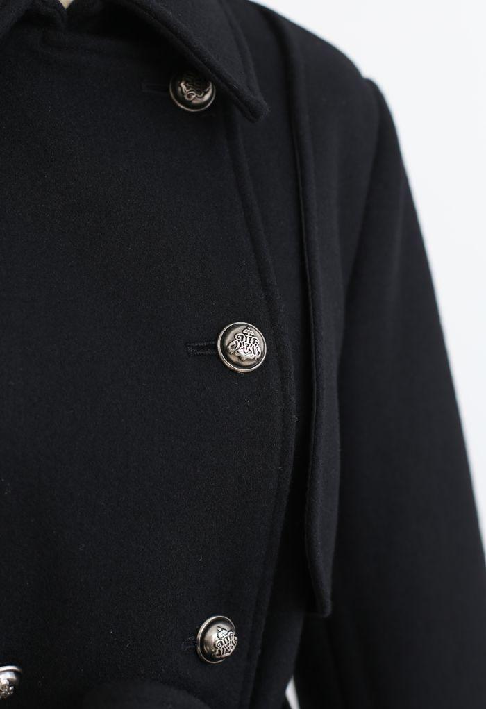 Black Double-Breasted Wool-Blend Longline Coat