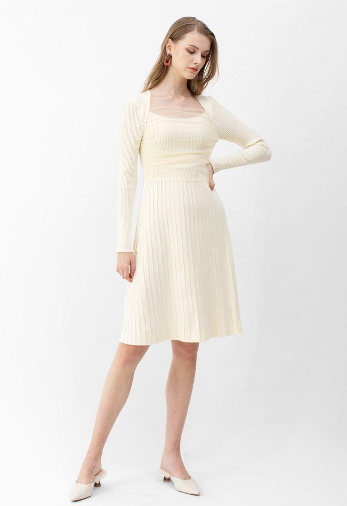 Mesh Overlay Square Neck Rib Knit Dress in Cream