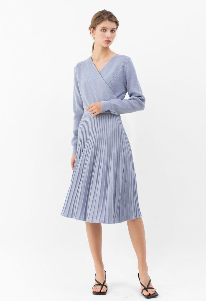 Belted Wrap Rib Knit Midi Dress in Dusty Blue