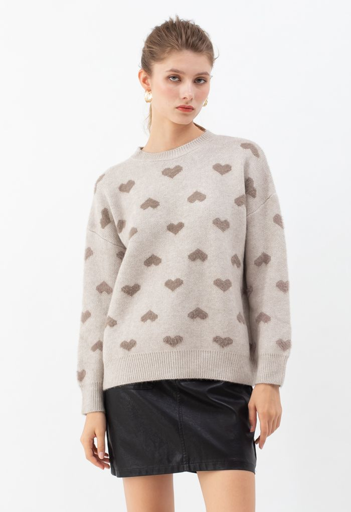Contrast Color Fuzzy Hearts Knit Sweater in Taupe