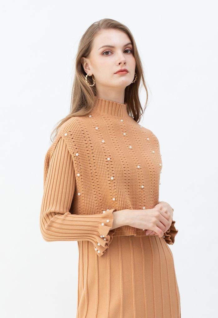 Pearl Trim Pleated Knit Twinset Dress in Apricot