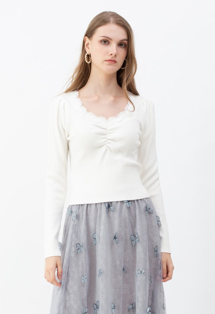 Sweetheart Lace Neck Knit Top in White