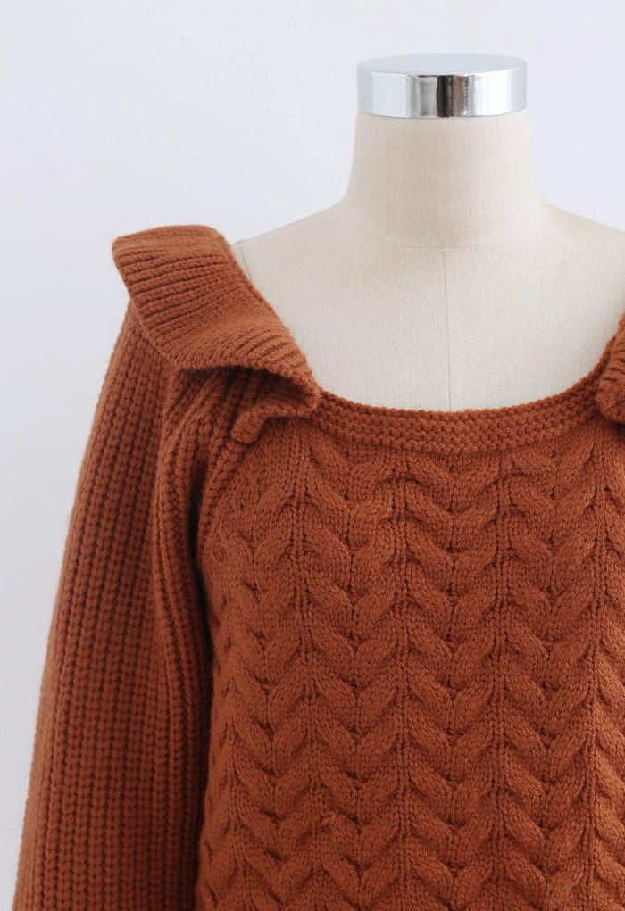 Square Neck Braid Ribbed Crop Sweater in Caramel