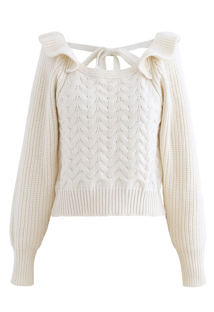 Square Neck Braid Ribbed Crop Sweater in Ivory