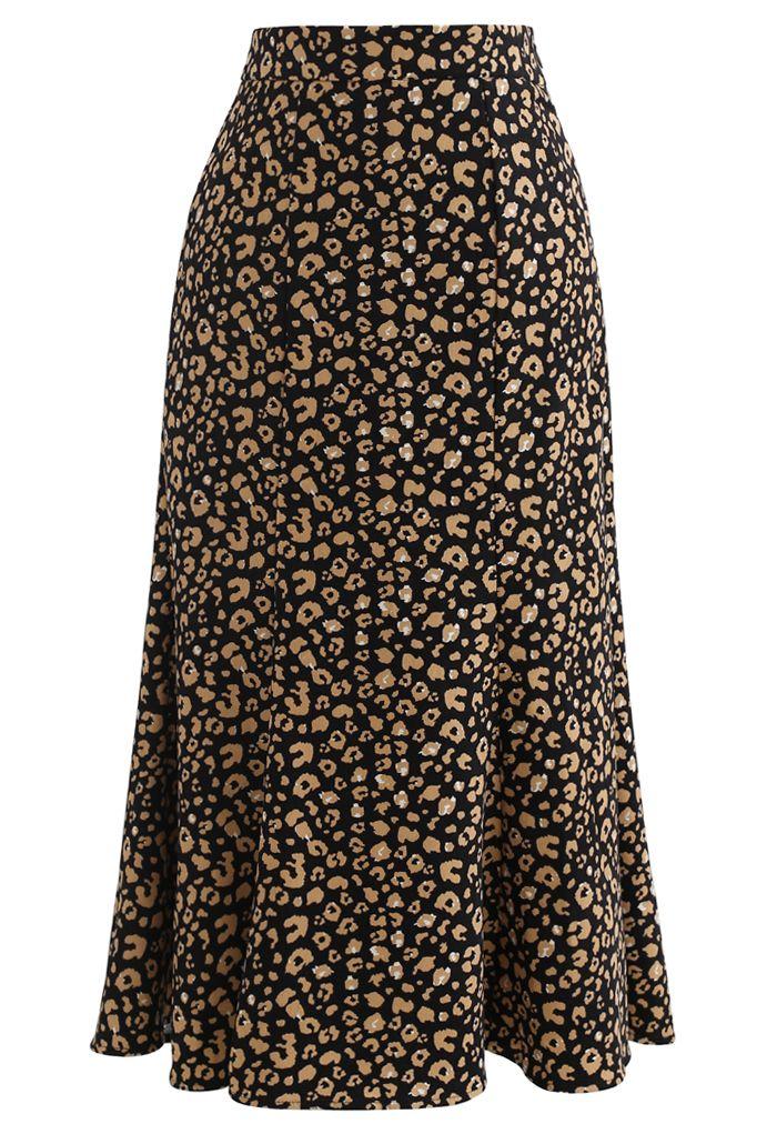 Leopard Printed Flare Hem Velvet Midi Skirt