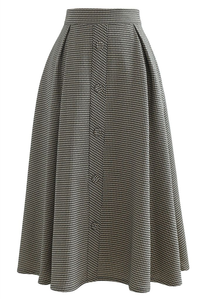 Textured Buttoned Front Pleated Skirt