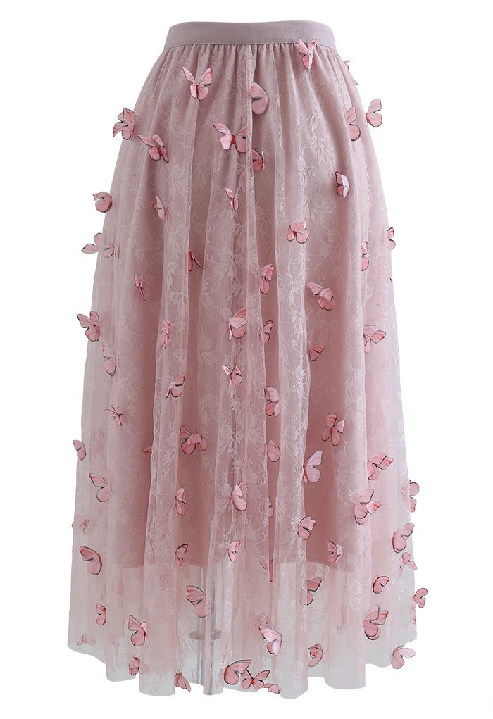 Double-Layered 3D Butterfly Lace Mesh Skirt in Pink