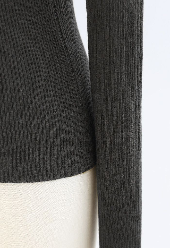 Turtleneck Ribbed Fitted Knit Top in Smoke