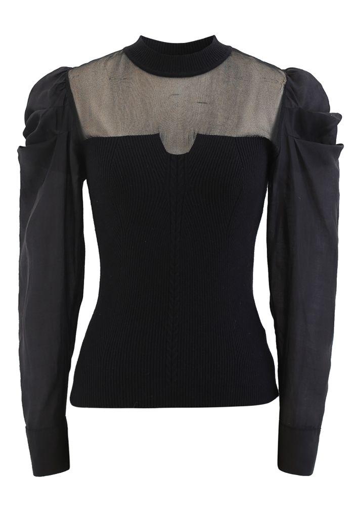 Organza Spliced Puff Sleeves Knit Top in Black