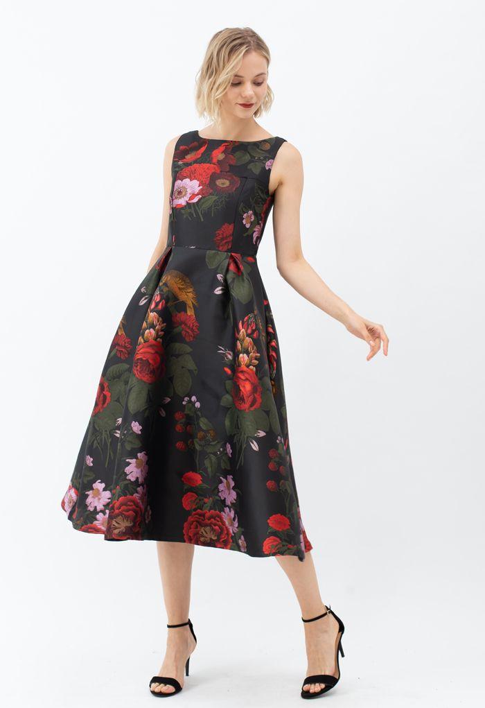 Gorgeous Rose Jacquard Sleeveless Midi Dress