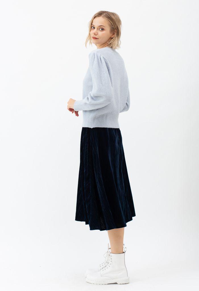 Velvet Flare Hem Midi Skirt in Navy