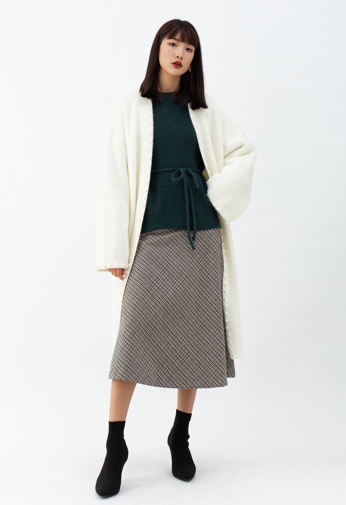 Comfy Fuzzy Pearl Edge Longline Knit Cardigan
