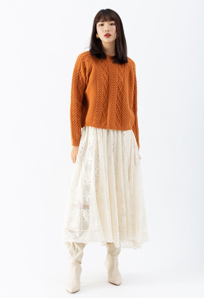 Braid Texture Cropped Knit Sweater in Orange