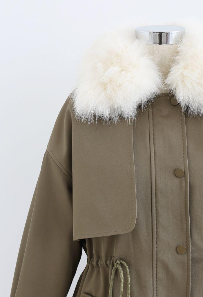 Faux Fur Collar Short Parka in Khaki