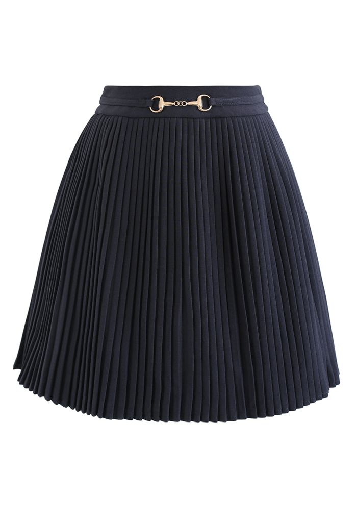 Horsebit Trims Pleated Mini Skirt in Smoke