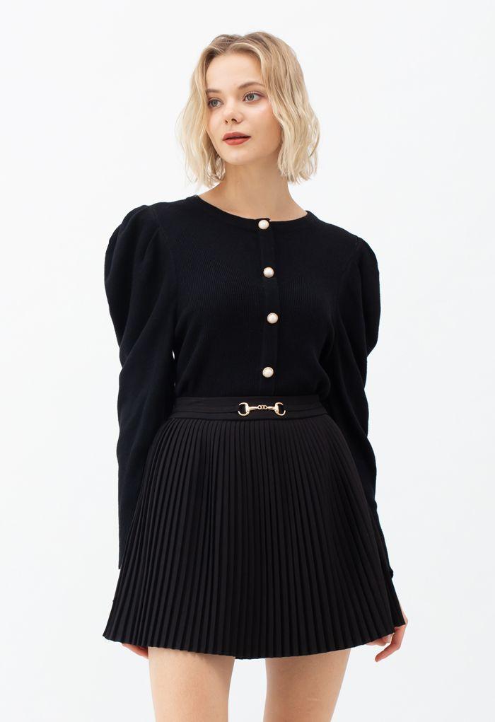 Horsebit Trims Pleated Mini Skirt in Black