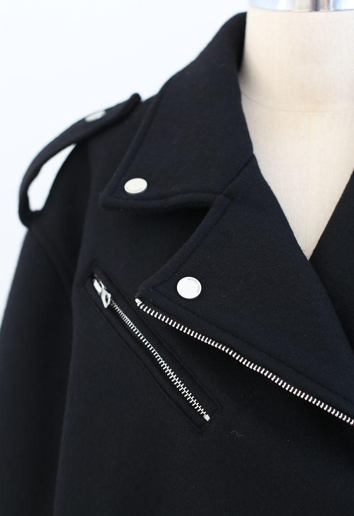 Wool-Blend Zipper Moto Jacket in Black