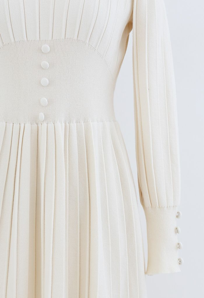 Button Decorated Pleated Knit Dress in Cream