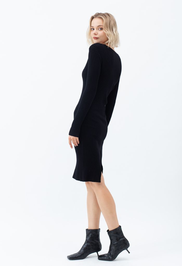 Surplice Wrap Front Ribbed Knit Dress in Black