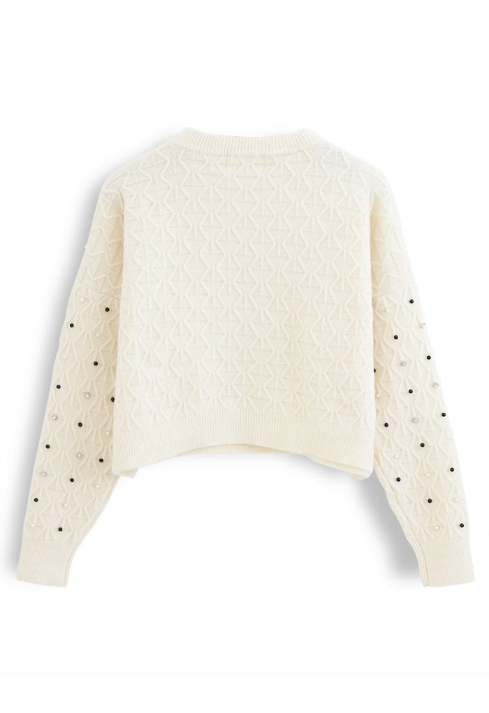 Beads Trim Textured Crop Sweater in Ivory