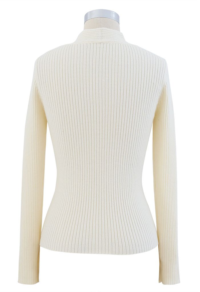 Cross Front Ribbed Knit Top in Cream