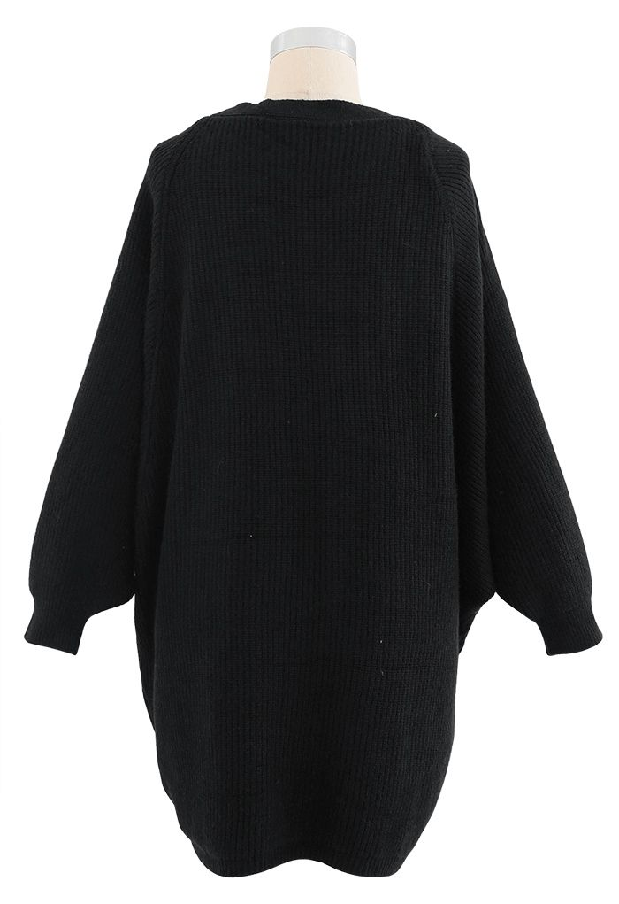 Batwing Ribbed Knit Longline Cardigan in Black