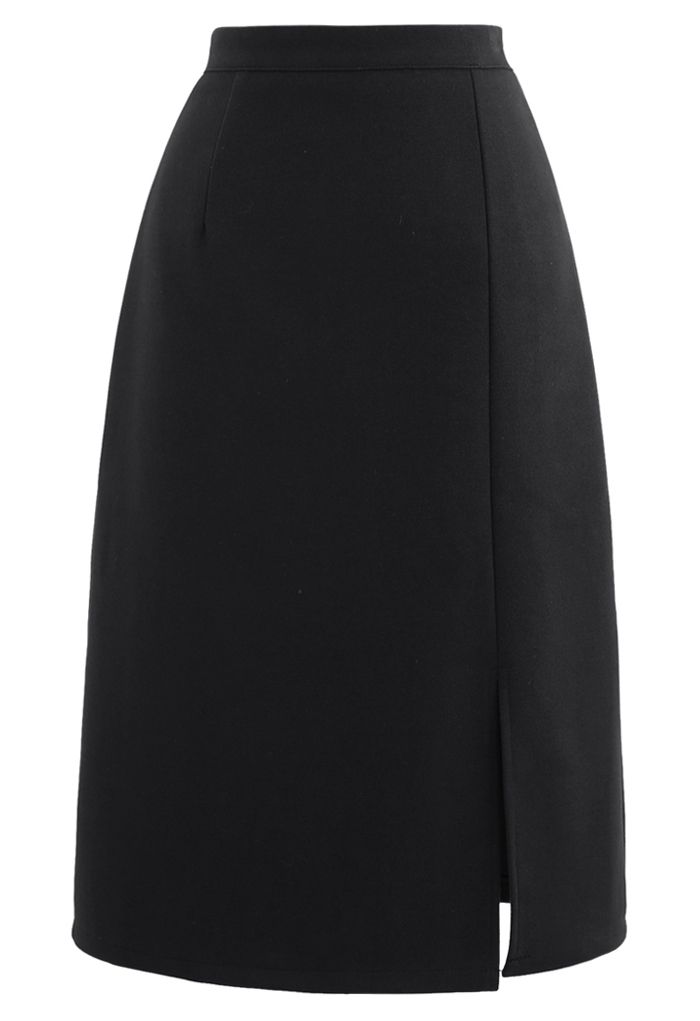 Side Slit Midi Pencil Skirt in Black