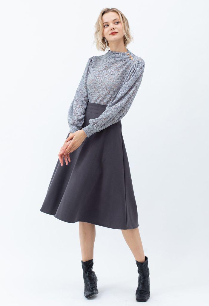 High Waist A-Line Flare Midi Skirt in Smoke