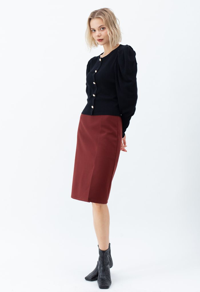 Side Slit Midi Pencil Skirt in Red