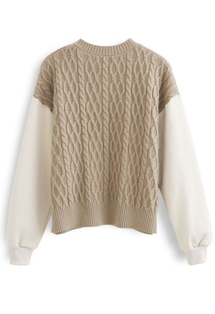 Braid Knit Spliced Sleeves Buttoned Cardigan in Camel
