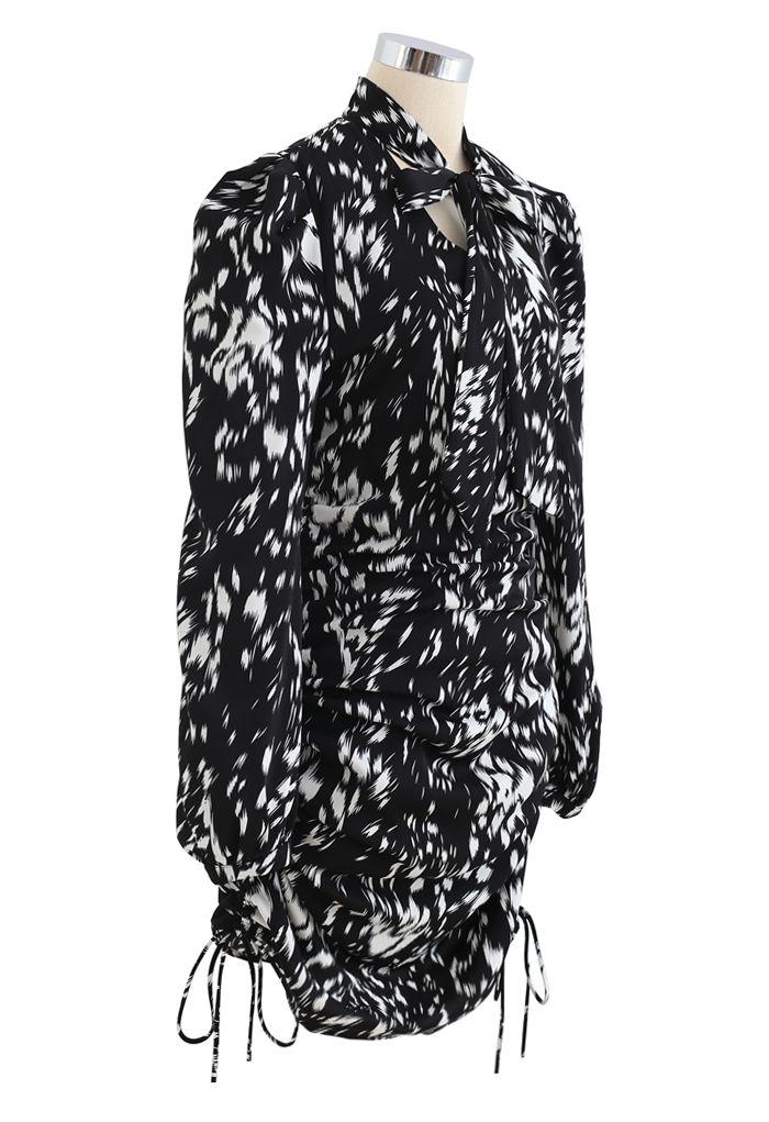 Bow Neck Drawstring Side Printed Dress