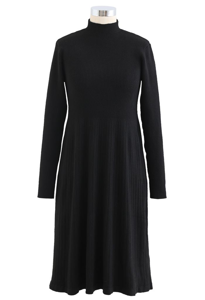 Crochet Mock Neck Knit Twinset Dress in Black