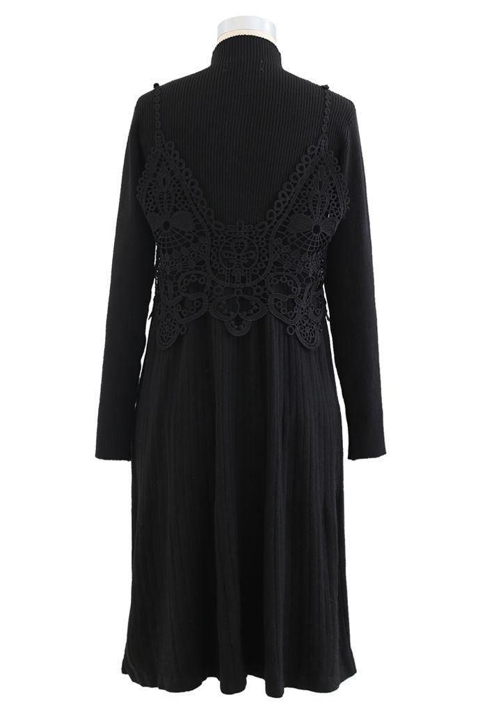 Crochet Mock Neck Knit Twinset Dress in Black