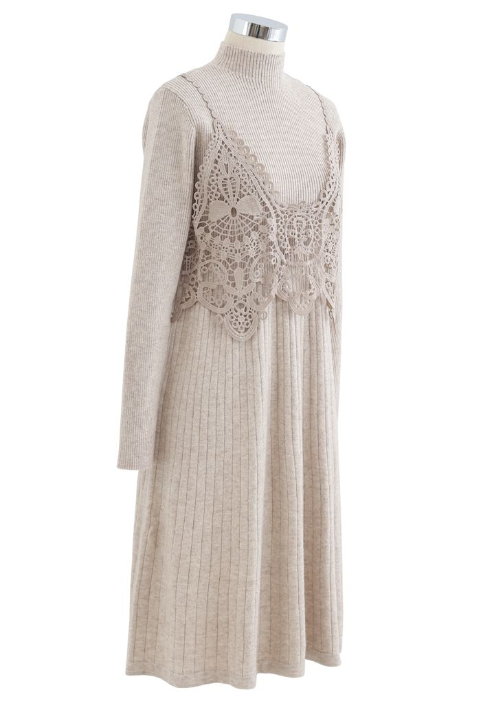 Crochet Mock Neck Knit Twinset Dress in Linen
