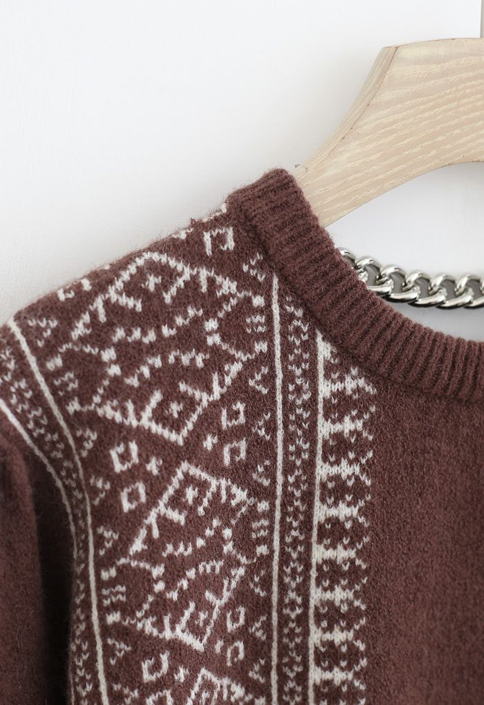 Snowflake Chain Back Ribbed Knit Sweater in Wine