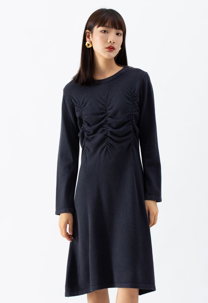 Ruched Front Flare Knit Midi Dress in Smoke