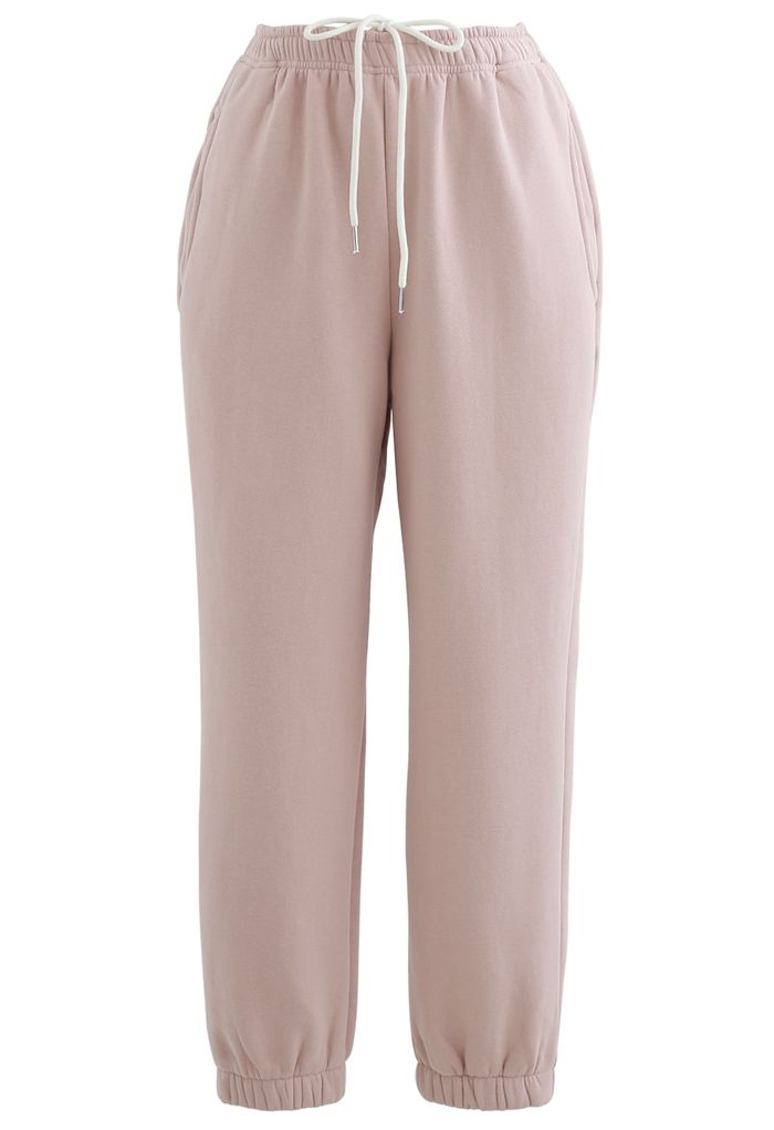 Twisted Crop Sweatshirt and Joggers Set in Pink