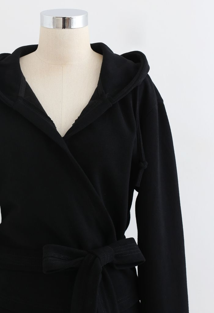Wrap Bowknot Hoodie and Straight Leg Pants Set in Black
