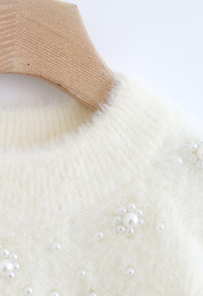 Pearl Trim Fuzzy Rib Knit Sweater in Ivory