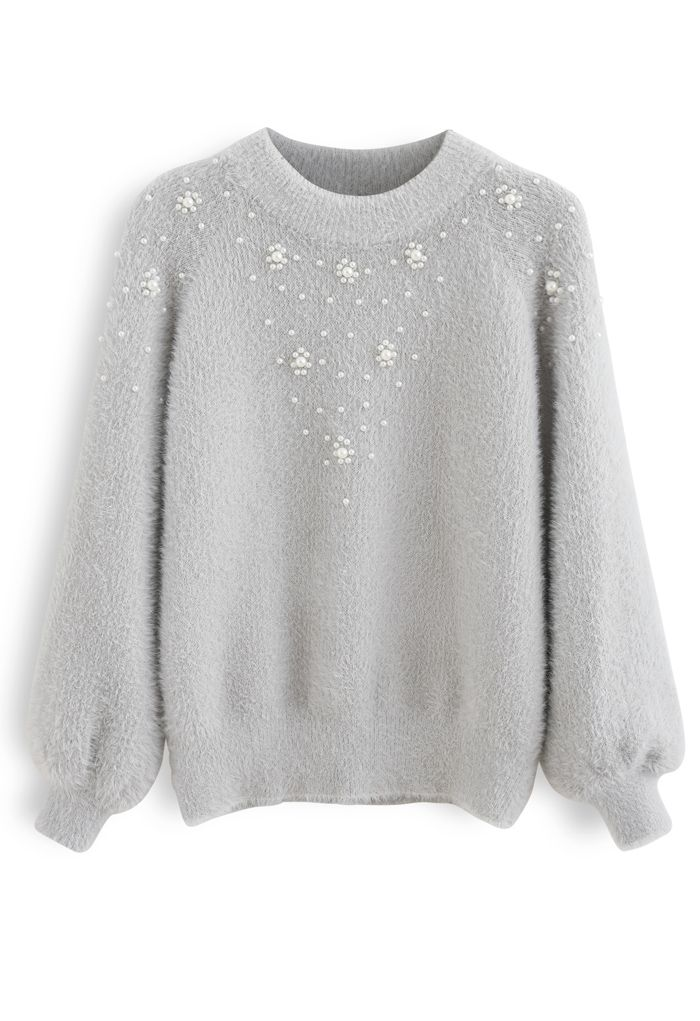 Pearl Trim Fuzzy Rib Knit Sweater in Grey