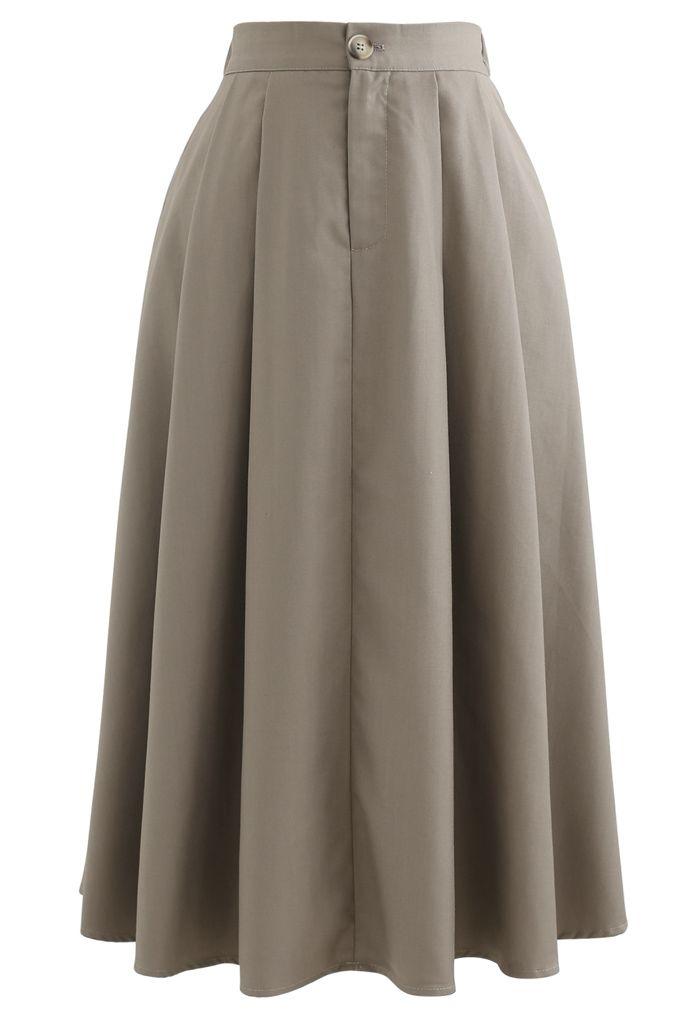 Button Pocket Pleated Flare Midi Skirt