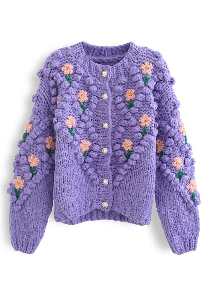 Stitch Floral Diamond Pom-Pom Hand Knit Cardigan in Purple