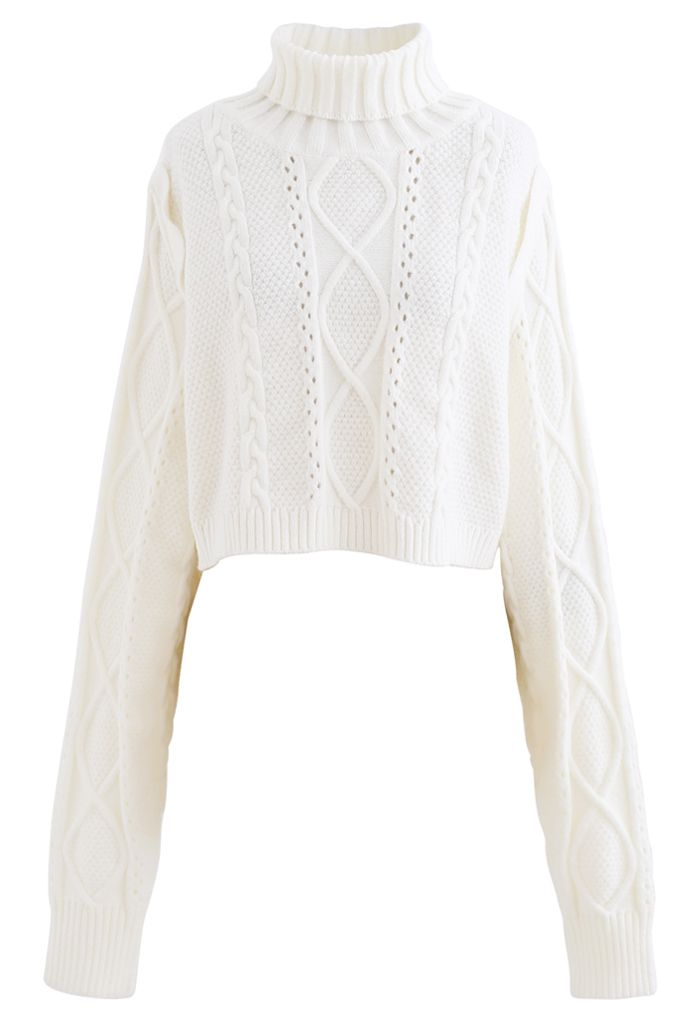 Panel Turtleneck Crop Cable Knit Sweater in White
