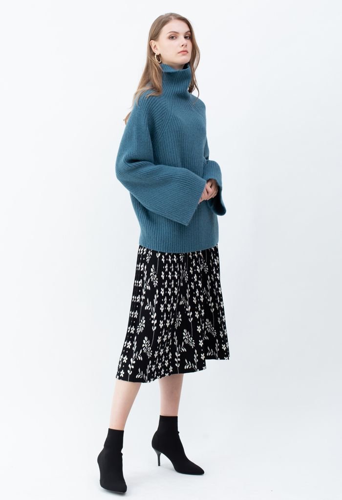 Bell Sleeves Turtleneck Knit Sweater in Peacock